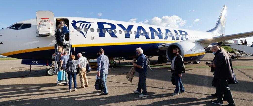 Passengers board a Ryanair flight at Teesside International Airport